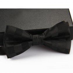 Stylish Checked and Stripe Pattern Bow Tie For Men - BLACK