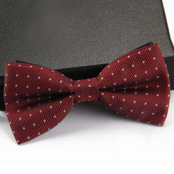 Stylish Small Dots and Twill Pattern Bow Tie For Men - WINE RED