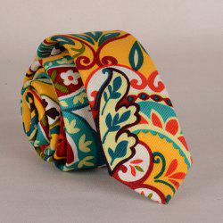 Stylish Colorful Folk Hand Painted Flower and Leaf Pattern Neck Tie For Men -