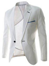 Trendy Lapel One Button Sutures Design Slimming Long Sleeve Polyester Blazer For Men - WHITE