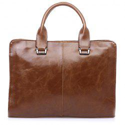 Career Solid Color and Zipper Design Men's Briefcase - COFFEE
