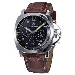 MEGIR 3006 Date Function Water Resistant Male Japan Quartz Watch with Genuine Leather Band Working Sub-dials -