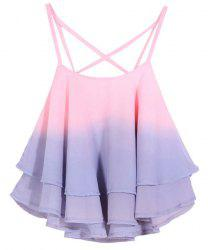 Stylish Spaghetti Strap Flounced Ombre Women's Tank Top -