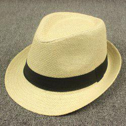 Stylish Black Ribbon Embellished Flanging Straw Hat For Men - RANDOM COLOR