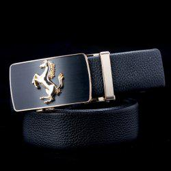 Stylish Running Horse Shape Alloy Embellished Buckle Belt For Men - BLACK