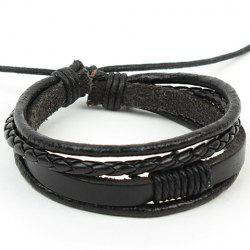 Punk Layered Faux Leather Bracelet
