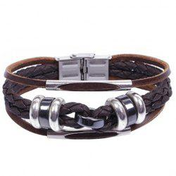 Braided Faux Leather Layered Bracelet - COFFEE