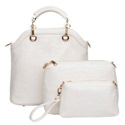 Fashion Style Crocodile Print and Metallic Design Women's Tote Bag - OFF-WHITE