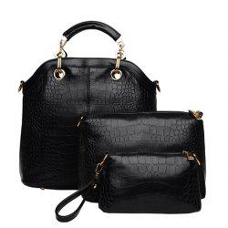 Fashion Style Crocodile Print and Metallic Design Women's Tote Bag