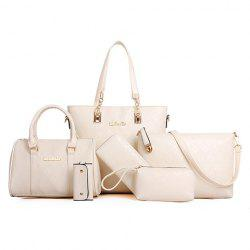 Graceful Metal and Embossing Design Women's Shoulder Bag - WHITE