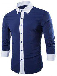 Vogue Shirt Collar Simple Color Block Splicing Slimming Long Sleeve Cotton Blend Shirt For Men - CADETBLUE