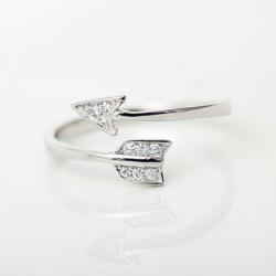 Rhinestone Arrow Cuff Ring - SILVER