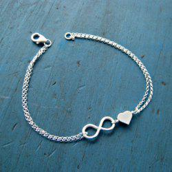 Silver Plated Infinity Heart Charm Bracelet -
