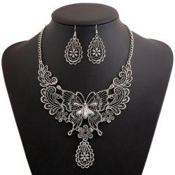A Suit Chic Floral Butterfly Pendant Necklace And Earrings For Women