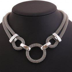 Stylish Chunky Round Pendant Necklace - SILVER