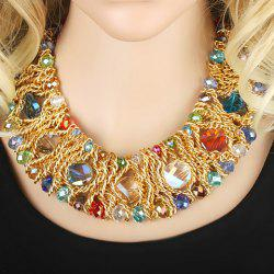 Fake Crystal Beads Crochet Necklace -