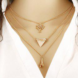 Triangle Life Tree Tower Pendant Necklace -