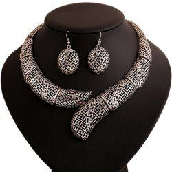 Vintage Hollow Out Women's Necklace and A Pair of Earrings -