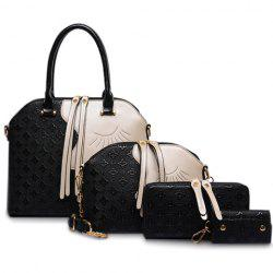 Color Block Metallic Handbag Set - BLACK