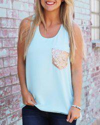 Stylish U-Neck Sleeveless Sequined Women's Tank Top