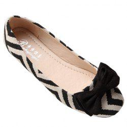 Sweet Zig Zag and Bowknot Design Women's Flat Shoes - BLACK