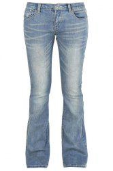 Simple Mid-Waisted Zipper Fly Pocket Design Women's Jeans -
