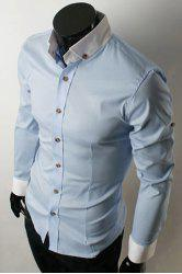 Fashion Shirt Collar Color Block Splicing Slimming Long Sleeve Polyester Button-Down Shirt For Men -