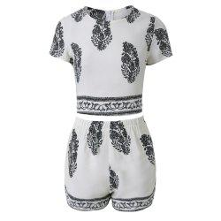 Stylish Jewel Neck Short Sleeve Print Suit For Women - WHITE