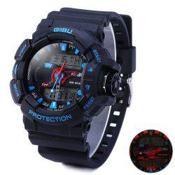Gobu 1535 Multifunctional Water Resistant LED Sport Dual-movt Watch with Rubber Band