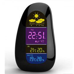 YGH - 392 Cobblestone Shaped LED Wireless Weather Station Indoor Outdoor Temperature Humidity Alarm Clock with RF Remote Sensor - BLACK