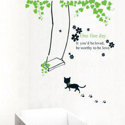 Cat Swinging PVC Removable Wall Art Decal Sticker -