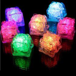 12Pcs Simulation Ice Light Petit RGB Flash Ice Cube Change LED Light - Transparent
