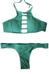 Sexy Style Spaghetti Strap Tie-Up Hollow Out Bikini Set For Women - GREEN S