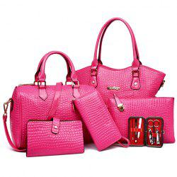 Embossed Tote Handbag 6Pc Set -