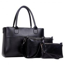Concise Zip and Solid Color Design Women's Tote Bag