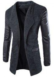 Trendy Lapel Large Pocket PU Leather Splicing Slimming Long Sleeve Woolen Blend Coat For Men - DEEP GRAY XL