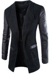 Trendy Lapel Large Pocket PU Leather Splicing Slimming Long Sleeve Woolen Blend Coat For Men -