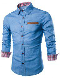 Stylish Shirt Collar Color Block PU Leather Pocket Hemming Slimming Long Sleeve Denim Shirt For Men - LIGHT BLUE