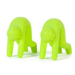 2pcs Creative Little People Design Pot Raised Frame Silica Gel Spill-proof Heightened Cover - GREEN