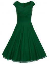 Vintage Ball Gown Prom Swing Skater Dress - GREEN