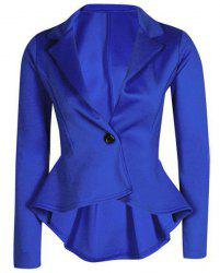 Lapel Long Sleeve Flounced Peplum Blazer