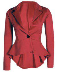 Lapel Long Sleeve Flounced Peplum Blazer - WINE RED