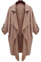 Lapel Neck Long Sleeve Solid Color Trench Coat - CAMEL