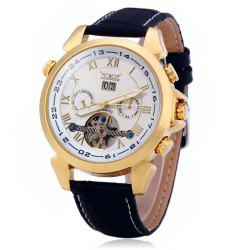 Jaragar H057M Men Tourbillon Genuine Leather Band Automatic Mechanical Watch with Two Working Sub-dials -