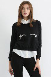 Fashionable Jewel Neck White Eyelash Print Long Sleeve Sweatshirt For Women