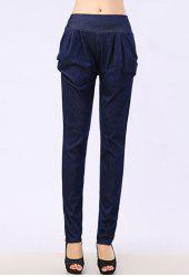 Stylish Mid-Waisted Solid Color Pocket Design Women's Jeans -