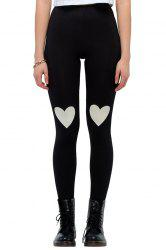 Stylish Elastic Waist Heart Print Women's Leggings