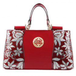 Retro Flower Pattern and Sequined Design Women's Tote Bag -