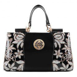 Retro Flower Pattern and Sequined Design Women's Tote Bag