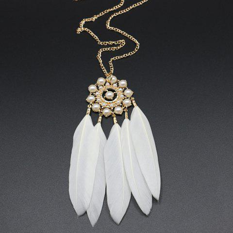 Affordable Feather Tassel Faux Pearl Sweater Chain